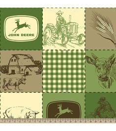 John Deere Quilted Scenes Fleece Fabric
