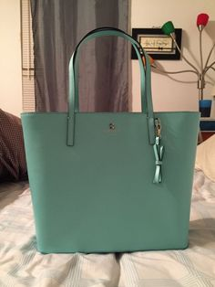 6f3e6cb010a KATE SPADE Maxi Sawyer Street Robins egg blue smooth leather tote NEW