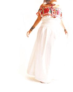 Mexican Chic. Traditional Hand-Embroidered dress. Would make a great casual wedding dress!   from Aida Coronado
