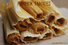 These Pumpkin Tamales are hands down one of the best creations I have ever made. With three cooking options, anyone can make these tamales a success. Tamales Gourmet, Dessert Tamales, Vegan Tamales, Pork Tamales, Mexican Dishes, Mexican Food Recipes, Snack Recipes, Cooking Recipes, Dinner Recipes