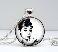 Audrey Hepburn Necklace - Breakfast at Tiffanys - Glass Picture Pendant Photo Pendant Handcrafted Jewelry by Lizabettas on Etsy, $14.00