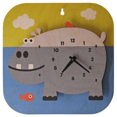 hippo kids clock – this would go great in a jungle or safari themed kids bedroom… - Wanduhr Ideen Clock For Kids, Kids Clocks, Country Bedroom Design, Neutral Bedroom Decor, Bedroom Decorating Tips, 3d Wall Clock, Playroom Design, Bedroom Night Stands, Wood Clocks