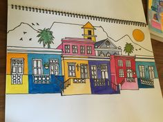 Table Mountain Bo-Kaap drawn by my friend Karina.The painting  has been hand printed onto tea towels and is now a part of our Iconic Cape Collection.