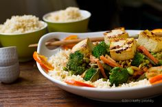 Ginger Peanut Coconut Veggie & Tofu Stir-Fry over Rice.