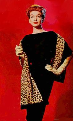 1959 Nina Ricci vintage fashion glam style black dress sheath leopard wrap color photo print ad designer couture model magazine late 50s early 60s
