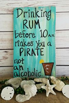 Funny Pirate Sign For Your Bar, Drinking Sign, Rum Sign, Porch Sign Patio Sign, Tiki Bar Decor, Drinking Rum Before 10 am Makes You a PIRATE, Father's Day Gift #pirate #affiliate #barsign #signs #cocktails #rum