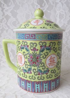 Vintage Yellow Famille Rose Jaune Pattern Lidded Asian by Vases, Vietnam, Vintage Yellow, Good Company, Tea Pots, Oriental, Vintage Outfits, Candle Holders, Wedding Decorations