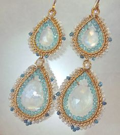 Diamonds in the Moonlight SALE by twotightlywound on Etsy Wire Jewelry Earrings, Seed Bead Jewelry, Earrings Handmade, Jewelry Art, Beaded Jewelry, Jewelry Accessories, Drop Earrings, Unique Jewelry, Wire Board