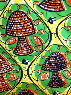 Congolese Fabric--African Wax Print Fabric--Ankara Fabric--Wax Print by the HALF YARD.  Mushrooms in green, orange, yellow and black. - pinned by pin4etsy.com