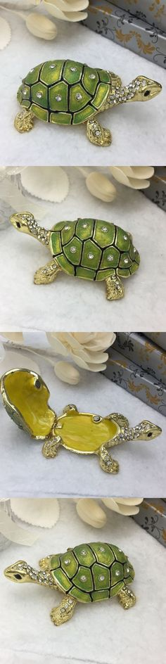 Wholesale Crystal Tortoise Figurine Home Decoration Collect Vintage Animal Green Tortoise Trinket Box Souvenir Gift Sculpture $18.5