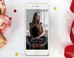 QUINCEANERA Snapchat Geofilter, Burgundy Flowers Filter, Floral Quinceanera Snap chat Filter, 15th 16th Birthday Geofilter