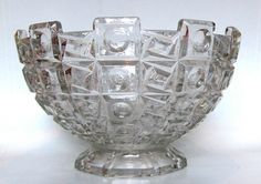SKLO UNION Geometric Pressed Glass Bowl, LIBOCHOVICE 2178 - we've had these in the charity shop before now, but they rarely sell.