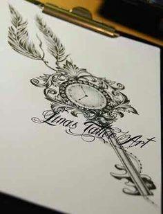 … Schlüssel tattoo- designs, – tattoos for women half sleeve Et Tattoo, Tattoo Henna, Tattoo Motive, Tattoo Drawings, Tattoo Key, Tattoo Pics, Tattoo Clock, Clock Tattoo Design, Tattoo Symbols