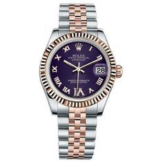 Pre-owned Rolex DateJust 31 Steel & Everose Gold Fluted Bezel Watch... (10,651,290 KRW) ❤ liked on Polyvore featuring jewelry, watches, purple watches, yellow gold watches, holiday jewelry, steel watches and holiday watches