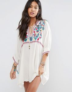 Billabong Relaxed Beach Smock Dress With Boho Embroidery