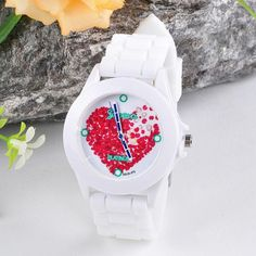 Teresamoon watch , Women Silicone Red Heart petals Quartz Wrist Watch -- Click image to review more details.