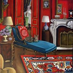 The Landlord's Daughter New Work by artist Catherine Nolin, on DailyPainters.com Room Of One's Own, Cat Sitter, Comfort And Joy, Red Rooms, Portraits, Being A Landlord, Artist At Work, Contemporary Artists, Original Paintings