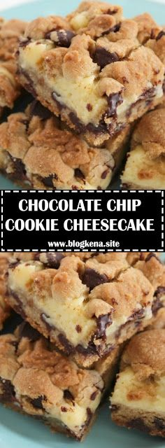 Need a an easy dessert - make these chocolate chip cookie cheesecake bars. They are the perfect marriage of chocolate chip cookies an. Chocolate Chip Cookies, Chocolate Chip Cookie Cheesecake, Cheesecake Cookies, Köstliche Desserts, Delicious Desserts, Dessert Recipes, Soften Cream Cheese, Homemade Chocolate, Chocolate Chip Recipes Easy