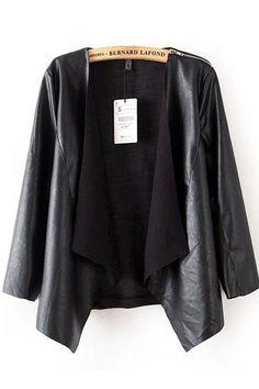 LOVE this Black Draped Lapel Loose Leather Jacket #Chic #Stylish #Black_Leather #Fashion