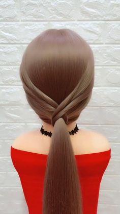 Hairstyle For Girls Video, Ponytail Hairstyles Tutorial, Bride Hairstyles, Cute Hairstyles, Curly Hair Tips, Braids For Long Hair, Brades Hair, Hair Designs For Girls, Medium Hair Styles