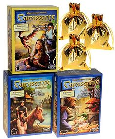 Carcassonne Expansions 1  2  3 Bundle Set _ No 1 Inns  Cathedrals No 2 Traders  Builders No 3 Children Board Games and the Dragon _ Bonus 3 Gold Metallic Cloth Drawstring Storages Pouches _ Bundled Items
