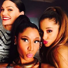 Powerful ladies: Jessie has teamed up with her fellow Universal Republic label singers Ariana Grande and Nicki Minaj for the new track, whic...