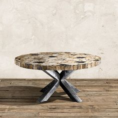 """Petra 60"""" Wood Dining Table in Natural Brown and Black"""