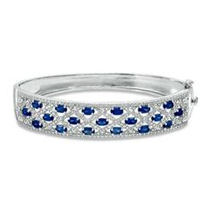 DIAMOND CUFFS AND BANGLES PINTEREST   Oval Lab-Created Sapphire and Diamond Accent Bangle in Sterling Silver