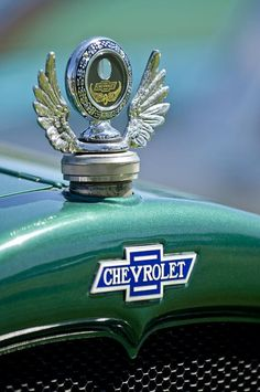 1928 Chevrolet Stake Bed Pickup Hood Ornament Photograph by Jill Reger Retro Cars, Vintage Cars, Antique Cars, Car Badges, Car Logos, Classic Trucks, Classic Cars, Car Symbols, Car Bonnet