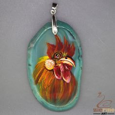 Creative Pendant Hand Painted Cock Natural Gemstone With Silver Bail ZL804720 #ZL #Pendant