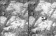 An strange rock, seen here on the left image, mysteriously appeared in front of Opportunity rover in the beginning of the month. The rover, which landed on Mars in hasn't moved in over a month as it waits for better weather on the red planet The Martian, Sonda Curiosity, Mars Pictures, Space Story, Discovery News, Rover Discovery, Better Weather, Mars, Astronomy