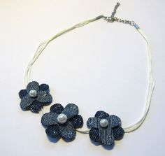 Flower necklace made of blue denim and pearls. #DIY #upcycle #jeans #recycle