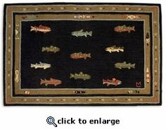 Trout Fish 4 X 6 Hooked Rug Handsome Hand By Designer Laura Megroz