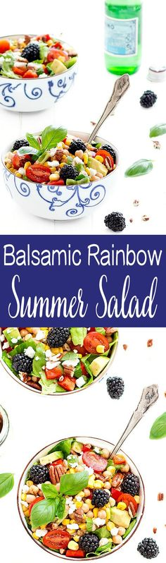 balsamic rainbow summer salad is perfect when it starts to get hot outside. It's fresh, crunchy, tart, sweet, and savory. It tastes like summer in a bowl