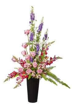 Traditional sympathy floral arrangement. Funeral Flowers, Floral Arrangements, Craft Supplies, Traditional, Plants, Decor, Decoration, Flower Arrangement, Flower Arrangements