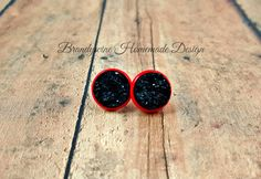 Black and Red 12 mm Druzy Earrings, Round Druzy Stud Earrings, Black Druzy Earrings, Red Settings Black Druzy, Affordable Jewelry by BrandywineHD on Etsy