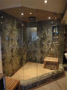 custom steam shower granite slab rain head multiple body sprays seamless glass - Bing Steam Shower
