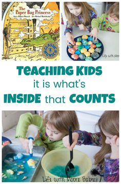 Hands-on Activity to teach kids it is what is on the inside that counts! This learning activity accompanies the book The Paper Bag Princess. Preschool Learning Activities, Hands On Activities, Educational Activities, Teaching Kids, Kids Learning, Activities For Kids, Preschool Ideas, Early Learning, Princess Activities