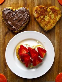 Heart French Toast with Nutella and Strawberries, heart shaped love toast  for breakfast
