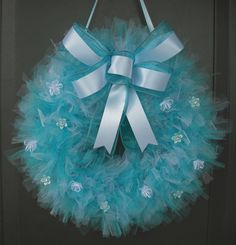 Teal Tulle Wreath and Embellishments by JustBuyChance on Etsy, $35.00