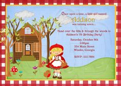 Little Red Riding Hood Invitation Inspired-Digital File. $12.00, via Etsy.