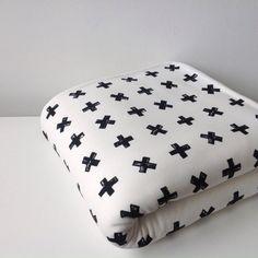 Soft off-white blanket with black cross by Latelierdejuliette