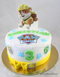 torta decorata Paw Patrol per il compleanno di un bimbo con Rubble su cialda alimentare  Paw Patrol decorated cake for the birthday of a child with Rubble of  wafer paper