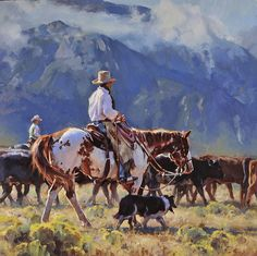 """Leaving Coldwater Canyon, SOLD"" by Jason Rich (Cowboy Artist) Cowboy Horse, Cowboy Art, West Art, Le Far West, Country Art, Equine Art, Horse Art, Native American Art, Animal Paintings"