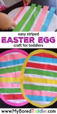 Striped Easter Egg Craft easy striped easter egg craft for toddlers to make - a fun Easter craft for toddlers and preschoolers using paper.easy striped easter egg craft for toddlers to make - a fun Easter craft for toddlers and preschoolers using paper. Easy Preschool Crafts, Easter Arts And Crafts, Easter Crafts For Toddlers, Daycare Crafts, Bunny Crafts, Easter Crafts For Kids, Spring Crafts, Easter Activities For Preschool, Preschool Curriculum