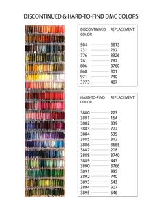 Discontinued DMC Colors & Their Replacements – Chart Discontinued DMC Colors & Their Replacements – Chart,Crafty Discontinued DMC Colors & Their Replacements – Chart – Scribble & Stitch Related posts:Face Mask Free Crochet Patterns. Cross Stitch Thread, Cross Stitching, Cross Stitch Embroidery, Cross Stitch Designs, Cross Stitch Patterns, Free Cross Stitch Charts, Filet Crochet, Crochet Granny, Everything Cross Stitch