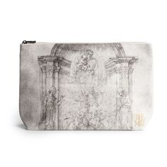 Our zip pouch showcases the design for the tomb of Pope Julius II della Rovere, which was drafted about 1505-6 by Michelangelo.