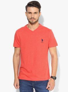 U.s. Polo Assn. Red Solid Regular Fit V Neck T-shirt
