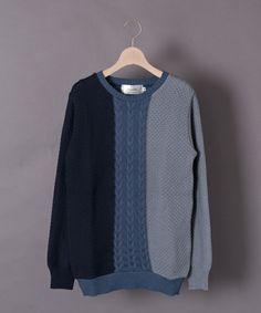 SELECT(セレクト)のCASPER JOHN 国産3カラー切替ニット(ニット/セーター)|ネイビー