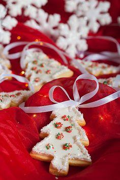 Christmas Cookies~ By kulinarno, white Christmas trees Merry Christmas, Christmas Tree Cookies, Christmas Sweets, Christmas Kitchen, Christmas Goodies, Christmas Baking, Winter Christmas, Christmas Holidays, Vintage Christmas
